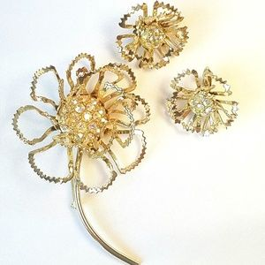 Vtg Sarah Coventry Allusions Brooch/Clip Earrings